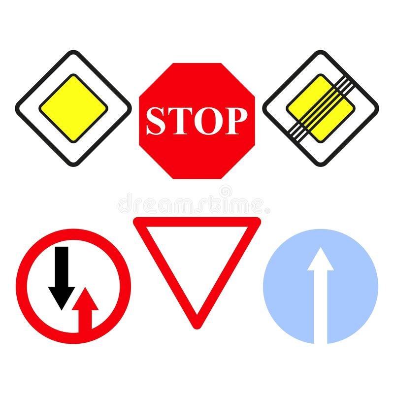 Set main road signs icons the stop. Set of the main road signs icons on vector illustration