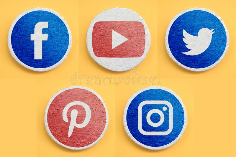 Set of main social networks icons for web site or mobile application. Realism design concept. Red and blue painted symbols. On white texture coating round vector illustration