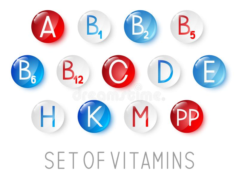 Set of main vitamin icons. For Your design stock illustration
