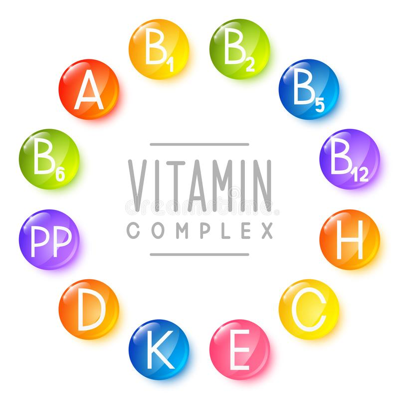 Set of main vitamin icons. For Your design royalty free illustration