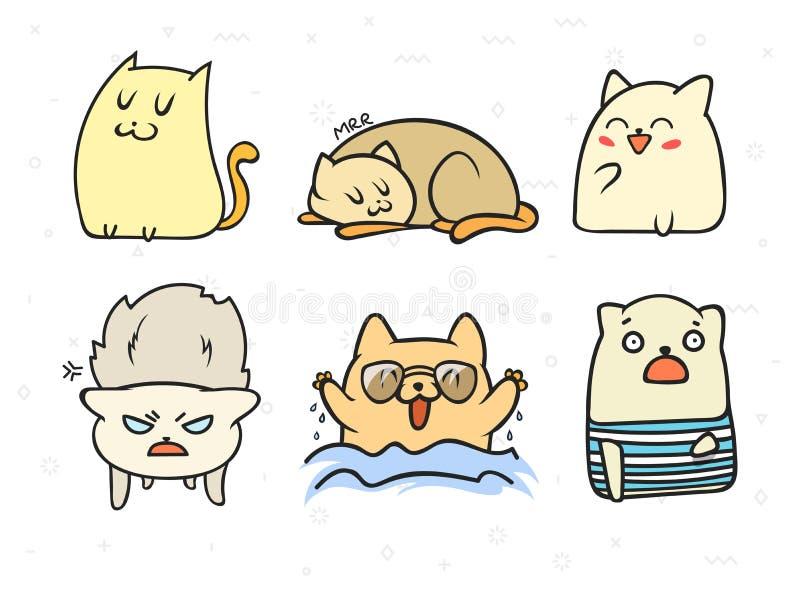 Set 6 majcheru doodle kotów z różnymi emocjami ilustracji
