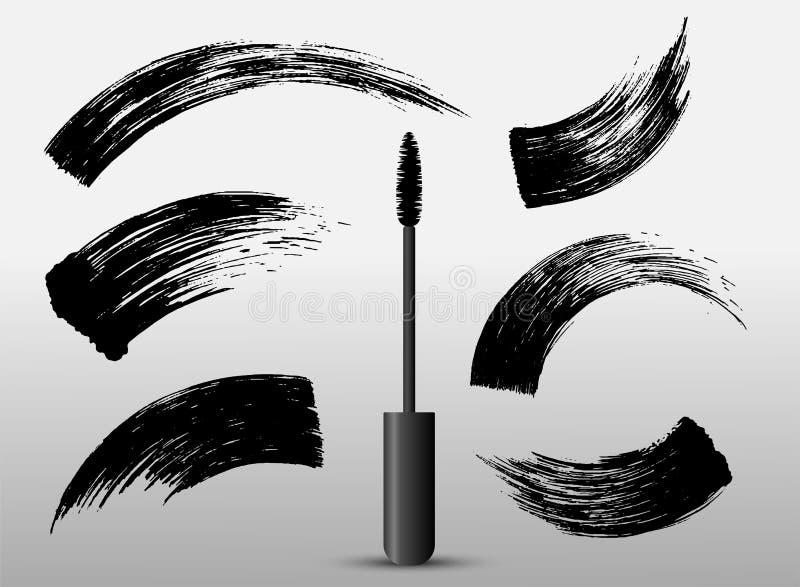 Set of make-up cosmetic mascara brush stroke texture design. Realistic mascara smear template. Mascara eyelashes. Hand drawn lash vector illustration