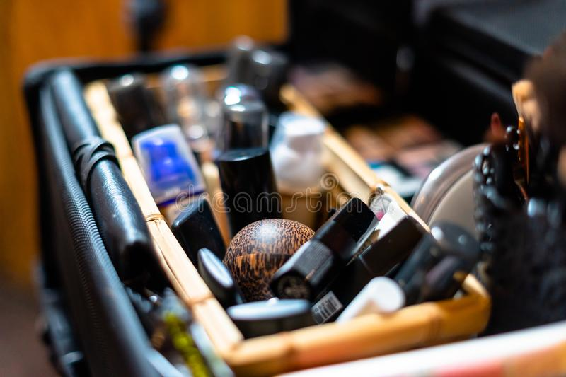 Set of make-up tools, brushes, eye shadows and other accessories royalty free stock photo
