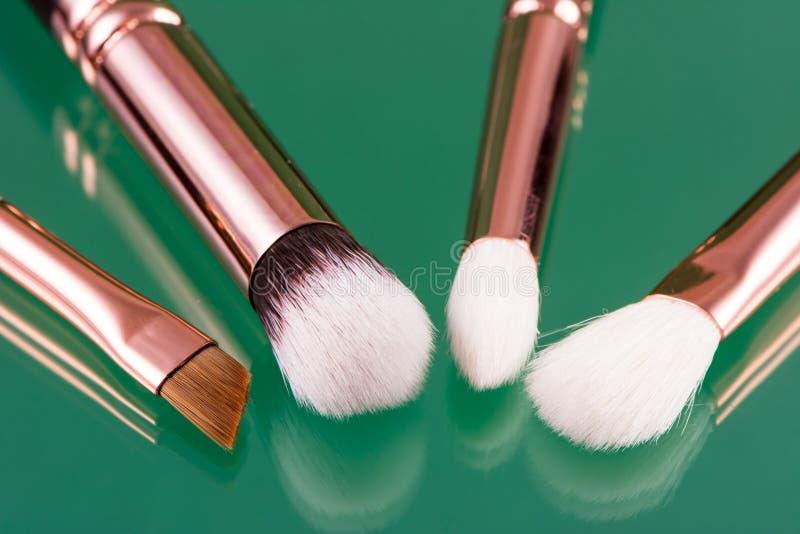 Set of makeup brushes stock photos