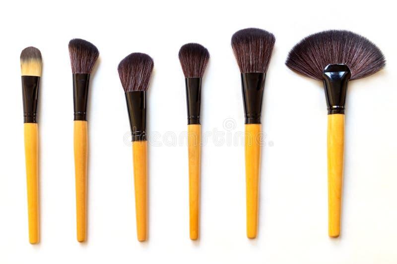 Set of makeup brushes stock photography