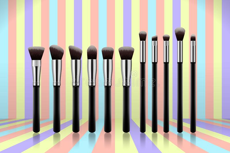 Set of makeup brushes, professional makeup kit concealer powder eyebrush with black handles on colorful pastel background. stock illustration