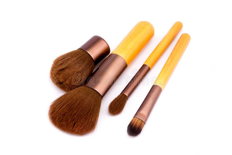 Set of makeup brushes on white background royalty free stock photo
