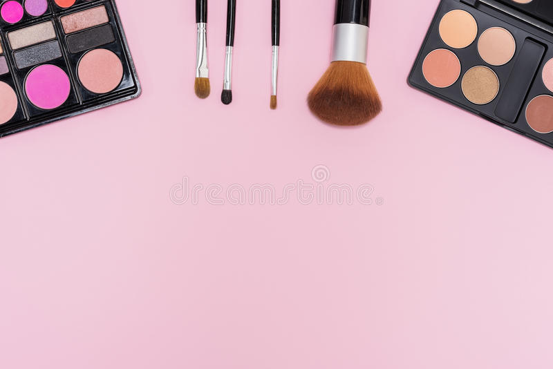 Set of makeup cosmetics with copy space for text royalty free stock photo