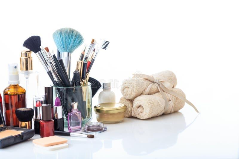 Set of makeup cosmetics on white background. Set of make up cosmetics isolated on white background stock photos