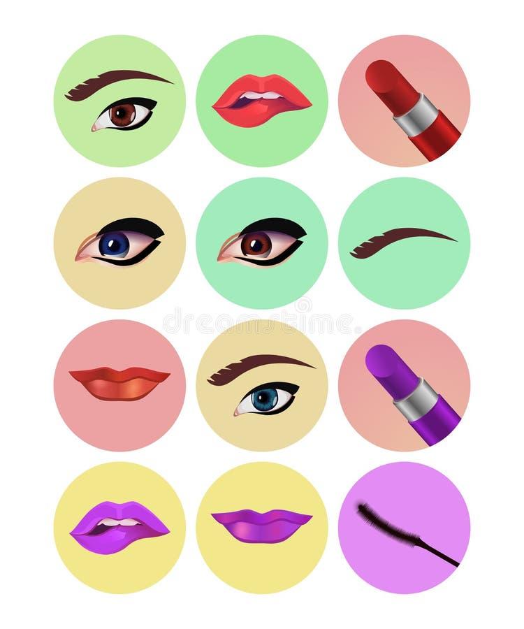 Set of makeup eyes lipstick icons royalty free illustration