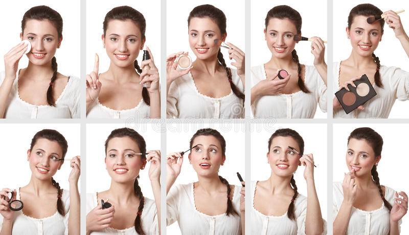 Set of makeup images royalty free stock photo
