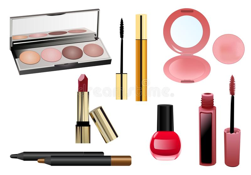 Set of makeup items, cdr vector stock illustration