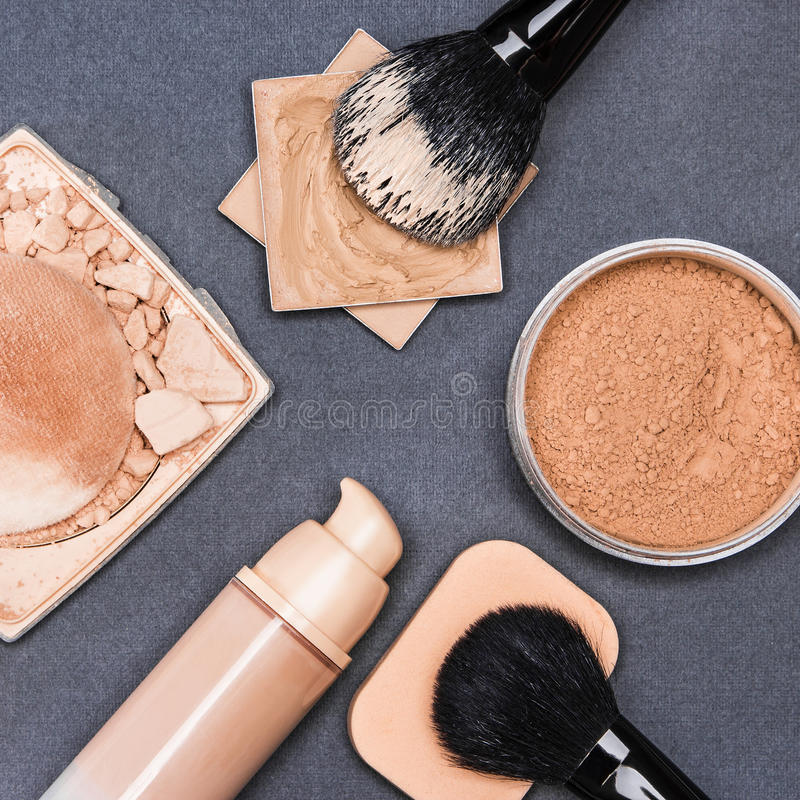 Set of makeup products to even out skin tone and complexion royalty free stock photography