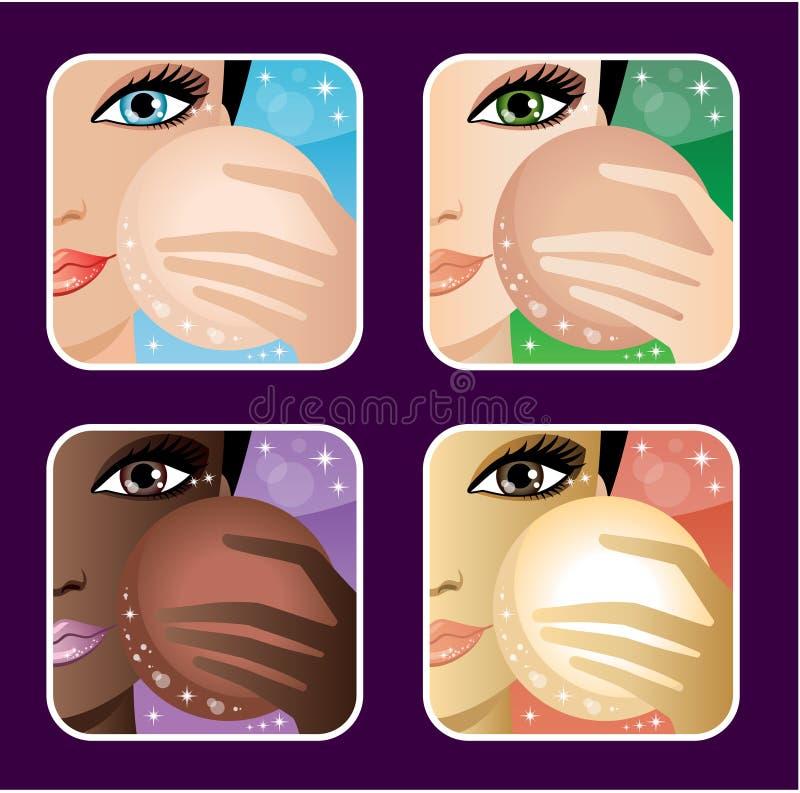 Set of makeup young European, Asian, African women stock illustration