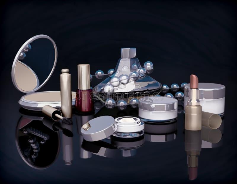 Set makijaży produkty na czarnym tle royalty ilustracja