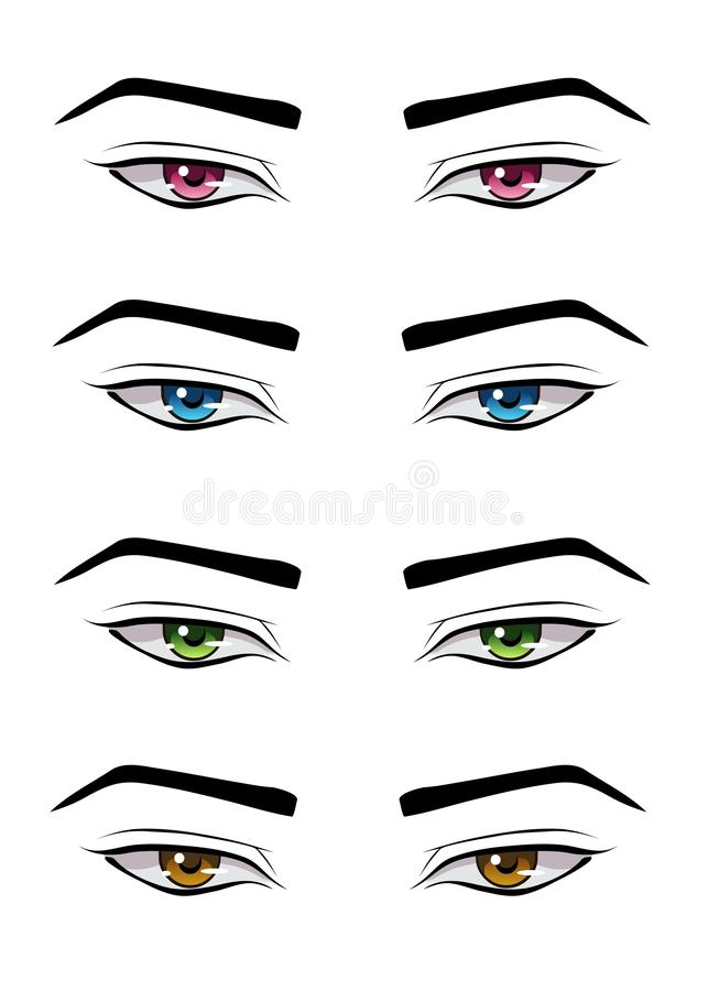 Set of male anime style eyes. Of different colors, isolated on white stock illustration