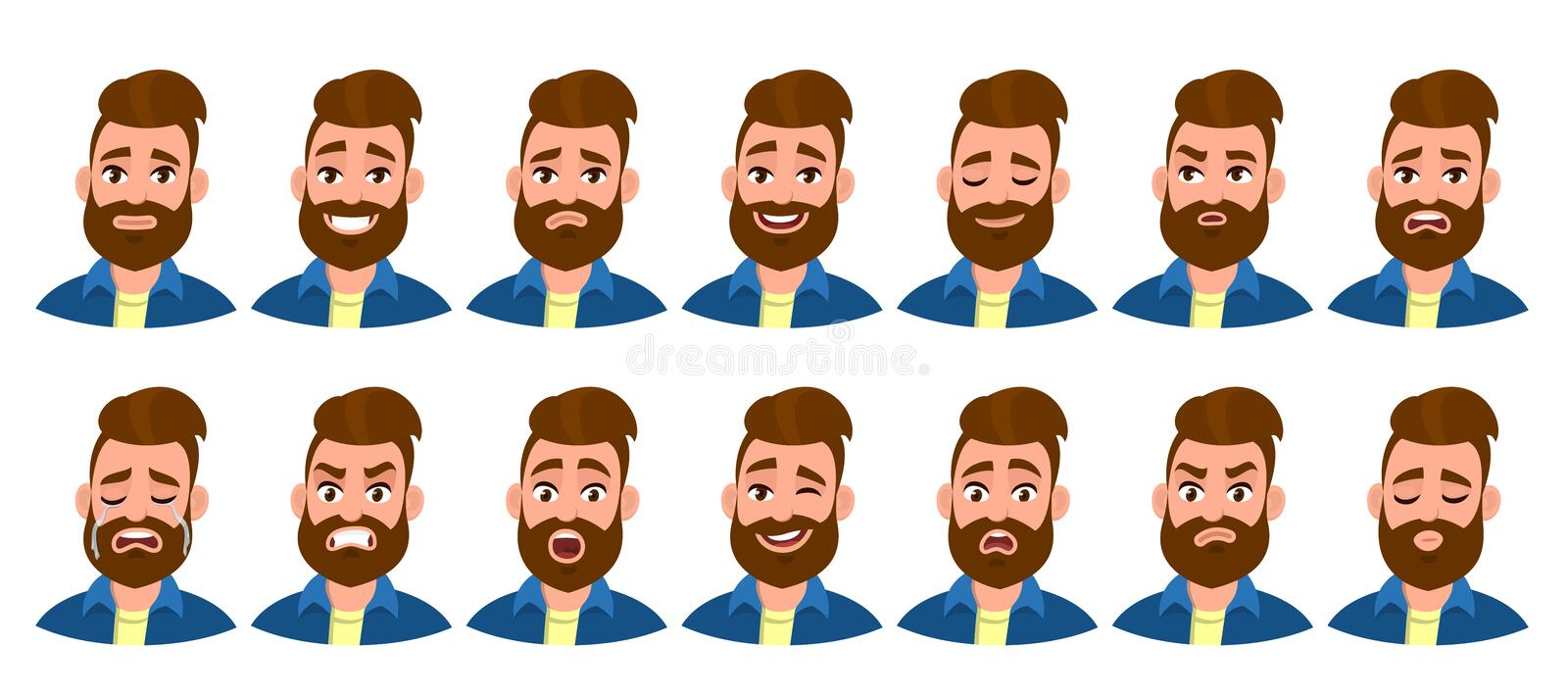 Set of male character with different emotions. Bearded man`s various collection of facial expressions. Collage of avatar, emoji. Set of male character with stock illustration