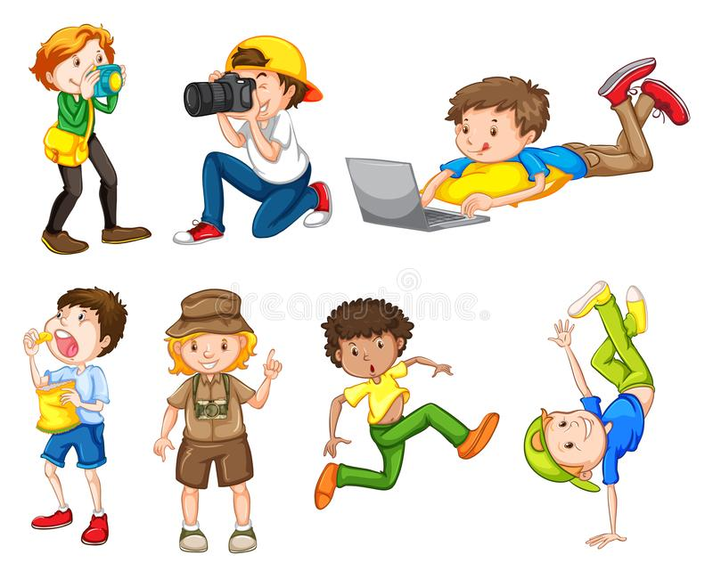 Set of male character vector illustration