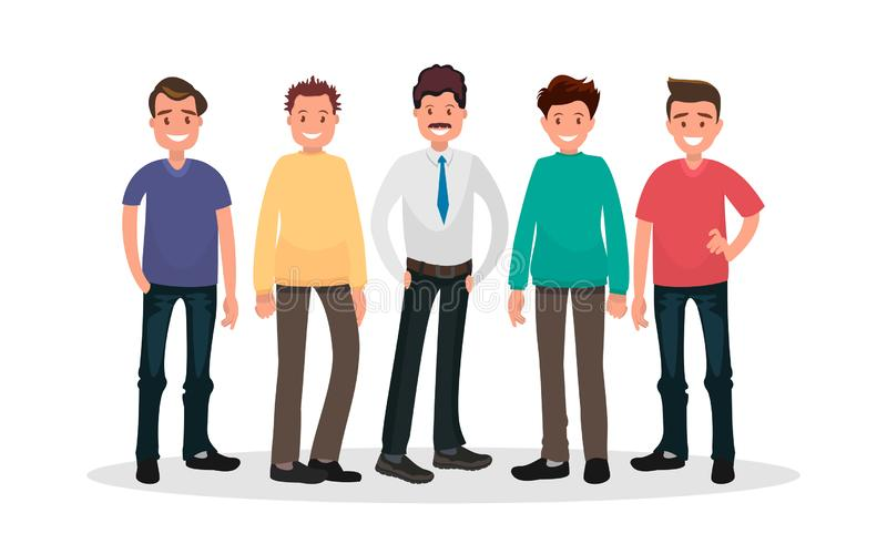 Set of male characters on white background. Group of guys. royalty free illustration