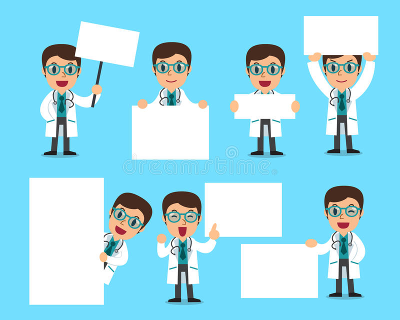 Set of male doctor with blank white banner stock illustration