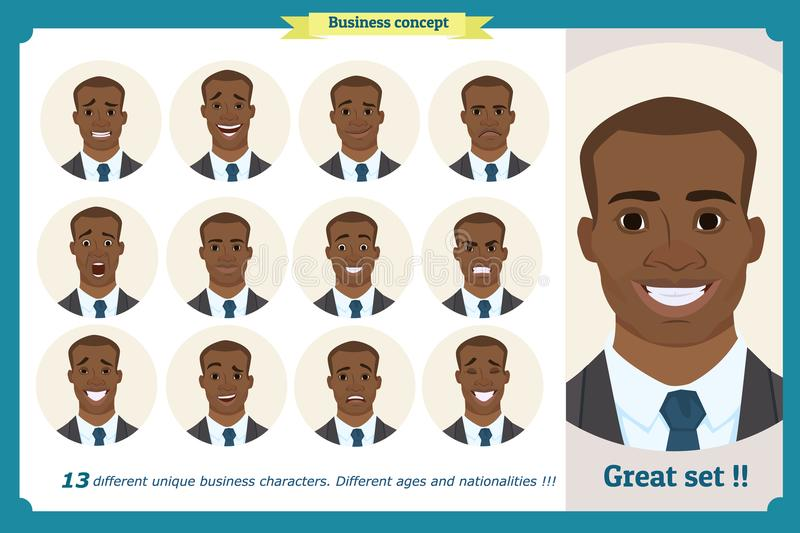 Set of male facial emotions. Black American man emoji character with different expressions. Vector illustration in cartoon style. People`s faces, man, boy vector illustration