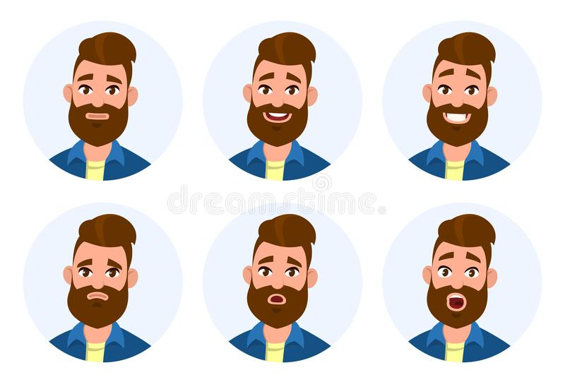 Set of male facial emotions. Different male emotions set. Man emoji character with different expressions. Human emotion - Vector royalty free illustration