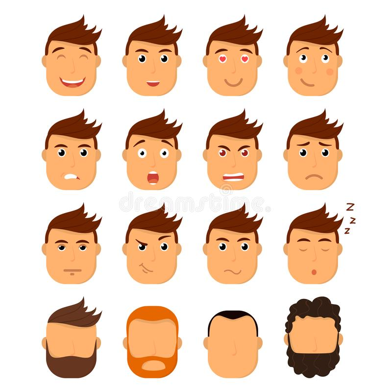 Set of male facial emotions. Emoji character with different expressions. Vector illustration in cartoon style. royalty free stock photos