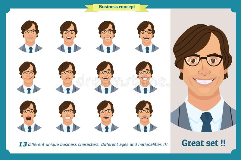Set of male facial emotions. Flat cartoon character. Businessman in a suit and tie. business people in round icons. Isolated vecto. Face expressions of a man royalty free illustration