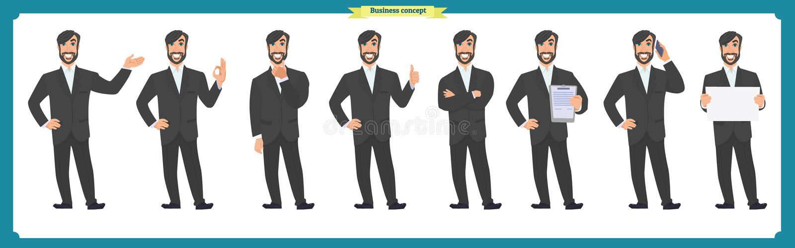 Set of male facial emotions. Flat cartoon character. Businessman in a suit and tie. business people in round icons. vector. Face expressions of a man. Flat vector illustration
