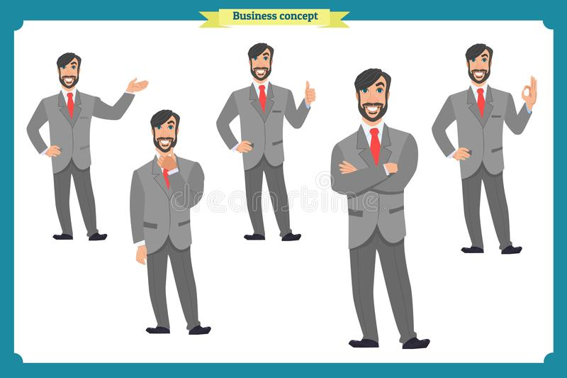 Set of male facial emotions.Flat cartoon character. Businessman in a suit and tie. business people in round icons. vector. Face expressions of a man. Flat vector illustration