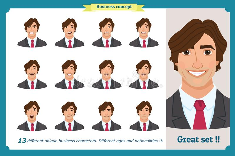 Set of male facial emotions. Young business man character with different expressions.Vector flat illustration in cartoon style. royalty free illustration
