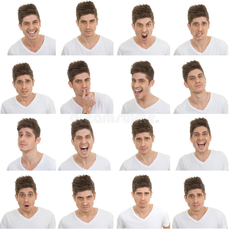 Set of male facial expressions. Set of different male facial expressions stock images