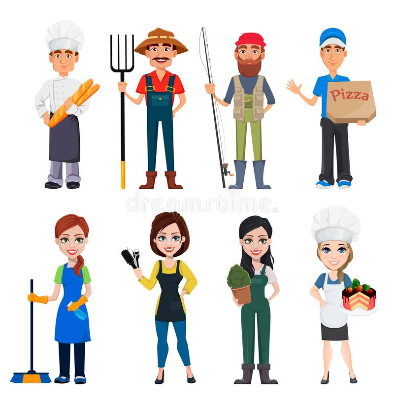 Set of male and female cartoon characters with various occupations. People of different professions. Set of male and female cartoon characters with various vector illustration