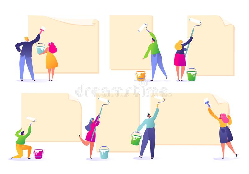 Set of male and female characters holding paint rollers and glue ads. Happy flat people characters with advertising, blank, billbo stock illustration