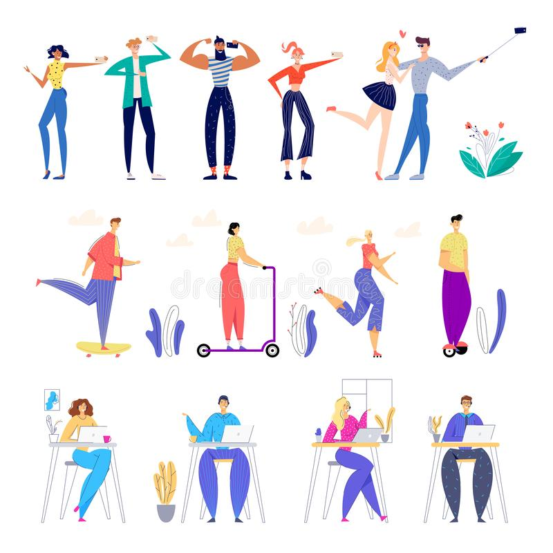 Set of Male and Female Characters Making Selfie and Posing on Photo Camera, Riding Electric Scooters and Hoverboards stock illustration