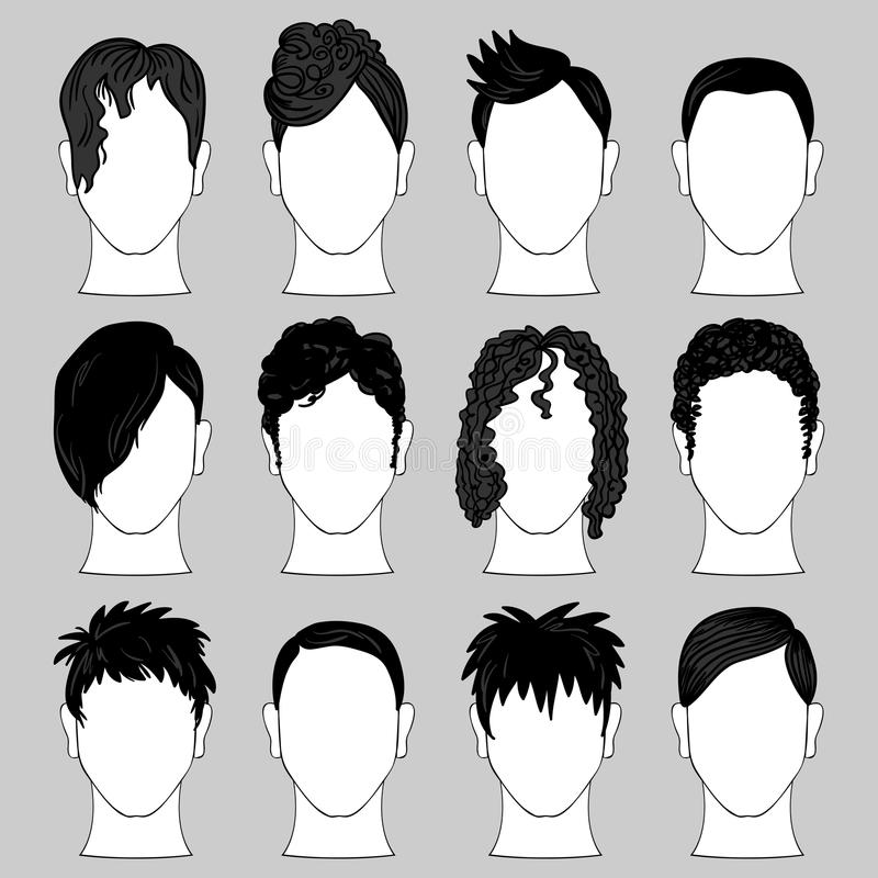 Download Set of male haircuts stock vector. Image of element, gentleman - 31771120
