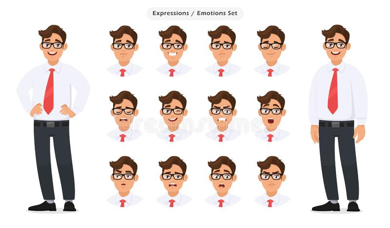 Set of male`s different facial expressions. Man emoji character with various face reaction/emotion, in formal and eyeglasses. stock illustration
