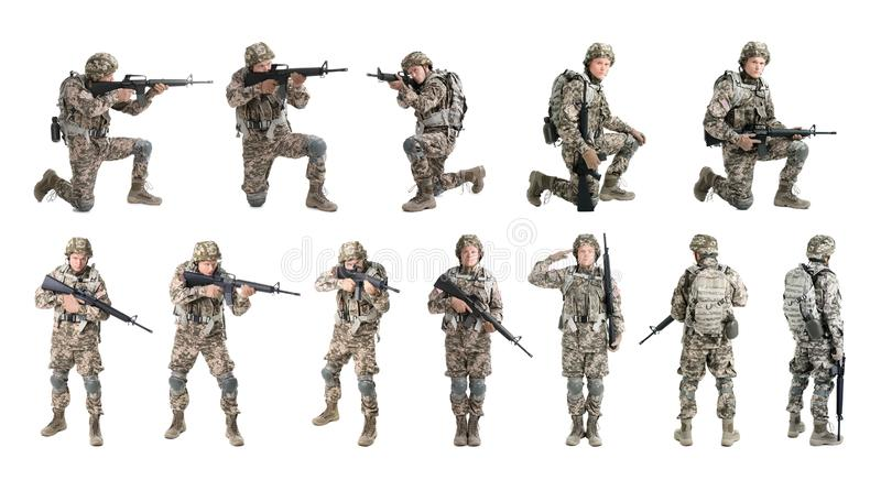 Set with male soldier on white background. Military service royalty free stock image