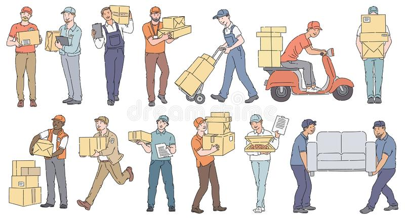 Set of male workers from different delivery and moving services sketch style vector illustration
