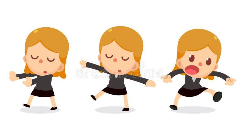 Set malutki biznesowej kobiety charakter w akcjach ilustracji