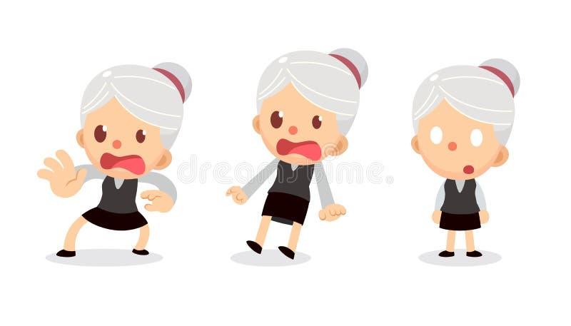 Set malutki bizneswomanu charakter w akcjach E Straszący i szokujący ilustracji