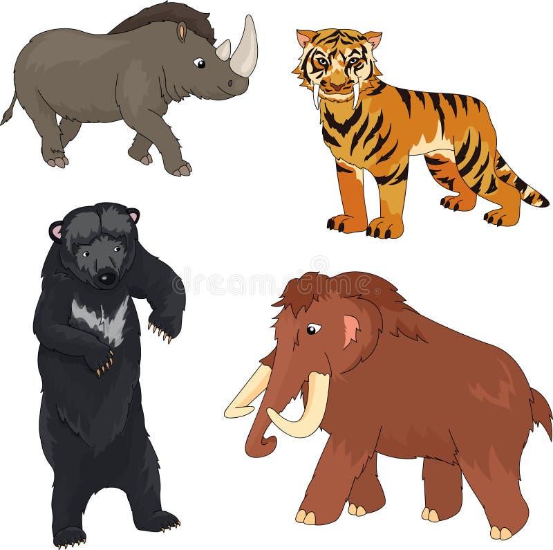 Set mamut, prehistoryczny niedźwiedź, uzębiony tygrys i nosorożec, royalty ilustracja