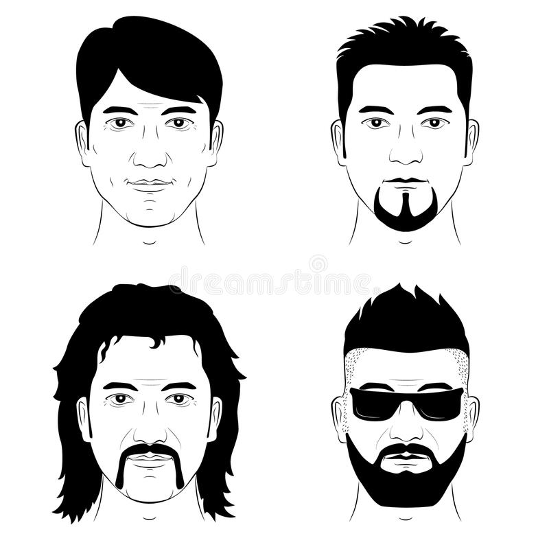 Set of man faces stock images