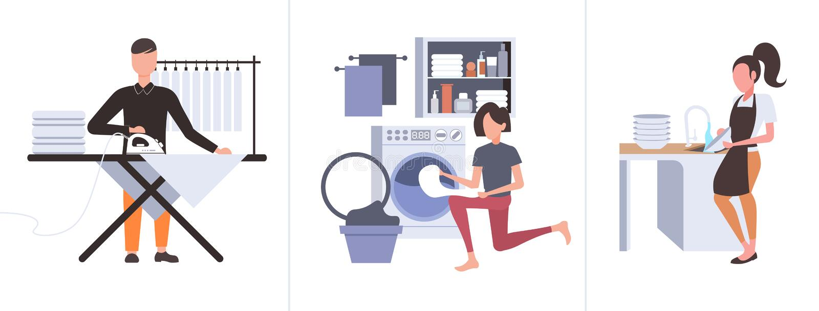 Set man ironing clothes woman putting dirty clothes into washing machine doing housework different housekeeping vector illustration
