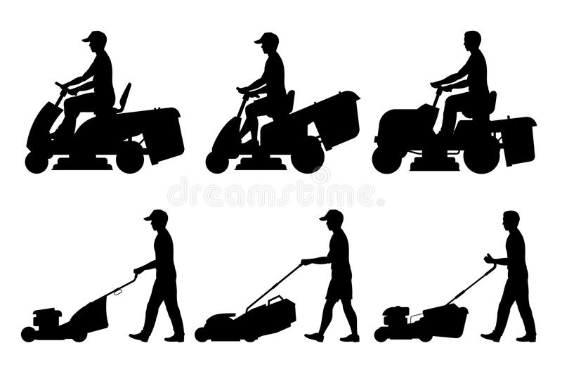 Set of Man with lawnmower stock illustration