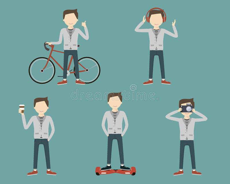 Set Man Lifestyle stock illustration