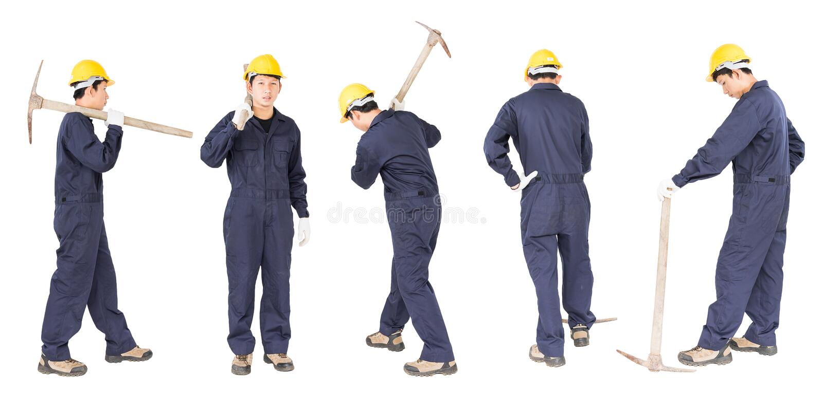Set of Man in uniform hold old pick mattock that is a mining device. Set of Young man in uniform hold old pick mattock that is a mining device, Cut out isolated royalty free stock images