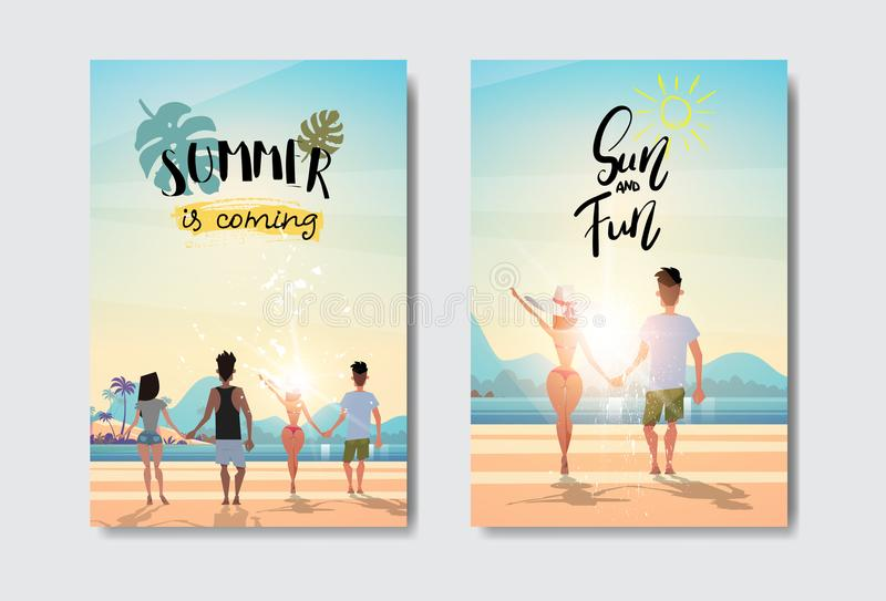 Set man woman couple holding hands looking sunrise rear view summer vacation beach badge Design Label. lettering for vector illustration