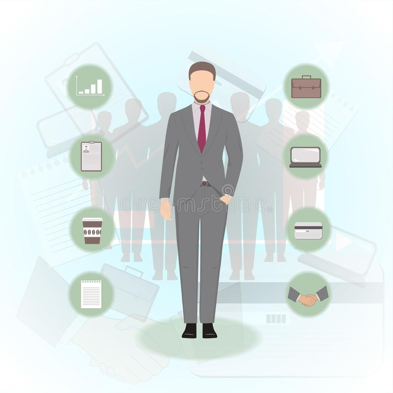 Man in a business suit vector illustration. royalty free illustration
