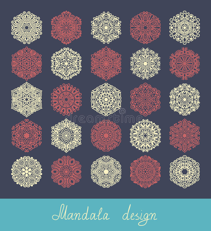 Set of 25 mandala design, circle ornament vector illustration